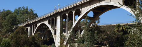 Bell Land Surveying conducted right-of-way mapping and a utilities investigation survey for this historical 1916 Pasadena bridge
